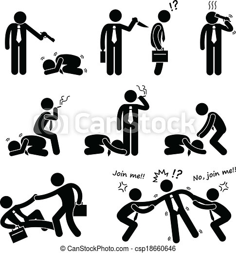 EPS Vector of Business Bullying Backstab Fight - A set of human ...