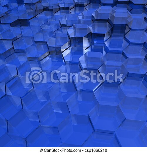 Blue Translucent Hexagons - csp1866210