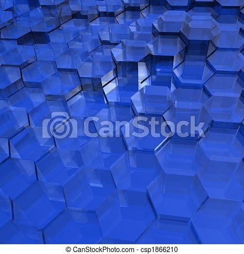 Blue Translucent Hexagons - csp1866210