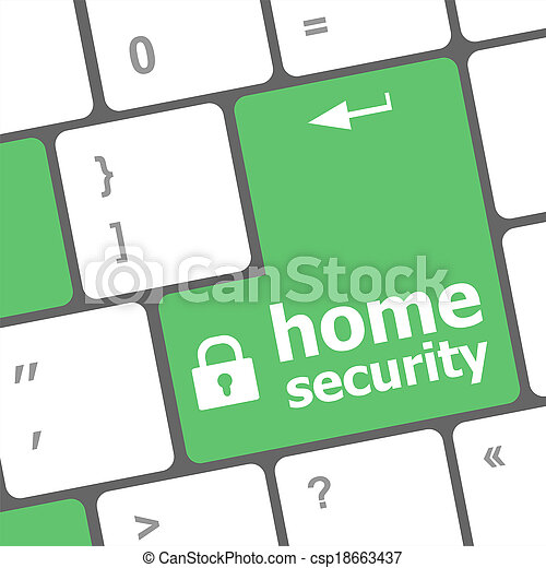 Safety concept: computer keyboard with Home security icon on enter button background - csp18663437