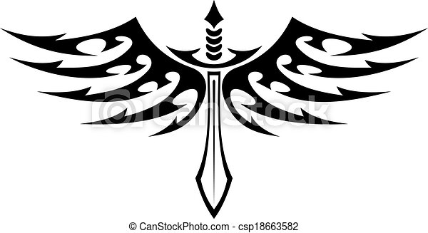 Winged sword tattoo with barbed feathers - csp18663582