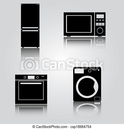 Clipart Vector of fridge and microwave and oven and washing ...