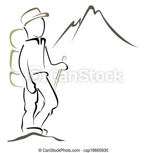 vecteurs de symbole  alpinisme hiker  dans montagnes hiker clip art free mountain hiker clipart