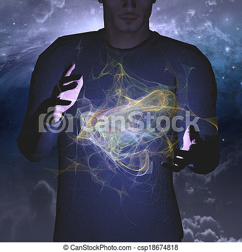Man manipulates energy or matter - csp18674818