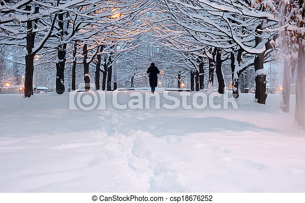 People walking A winter park with snow  in sunset - csp18676252