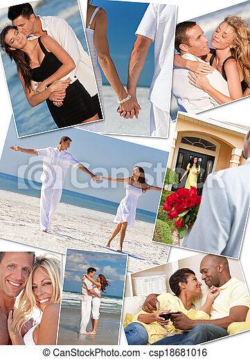 Romantic Interracial Couples Love Romance Montage - csp18681016