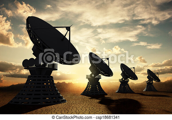 Radiotelescopes silouette at sunset - csp18681341