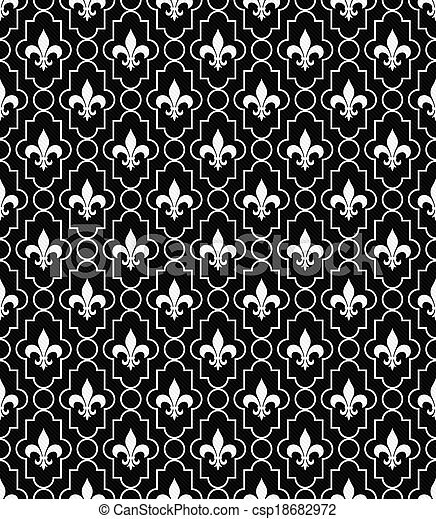 fleur-de-lis, mönster, svart, bakgrund, Strukturerad, vit, tyg - csp18682972
