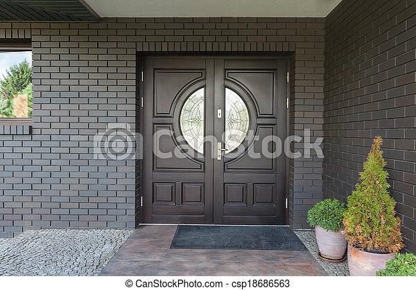 Wooden door with glass - csp18686563