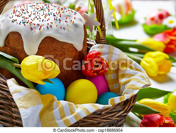 Cake and colorful eggs for Easter - csp18686954