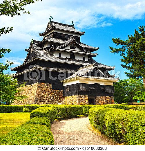 Matsue, samurai, feudal, castillo, y, jardín, conocido, como, negro ...