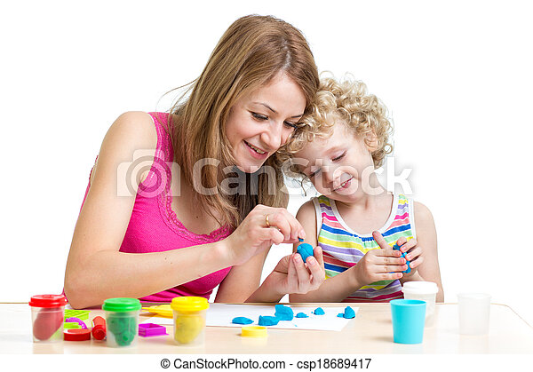 mom and daughter play colorful clay toy - csp18689417