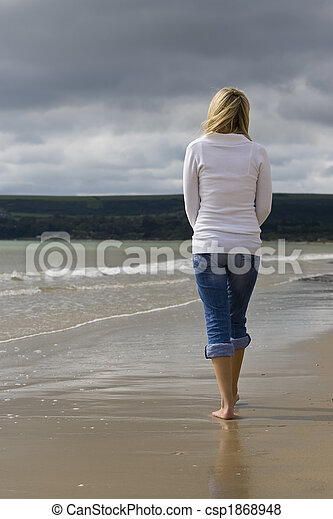 Woman Alone At The Beach - csp1868948