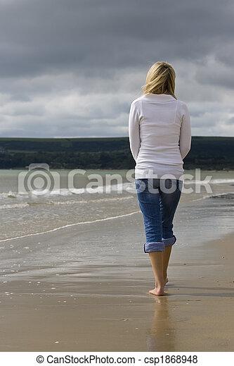 Woman Alone At The Beach - csp1868948