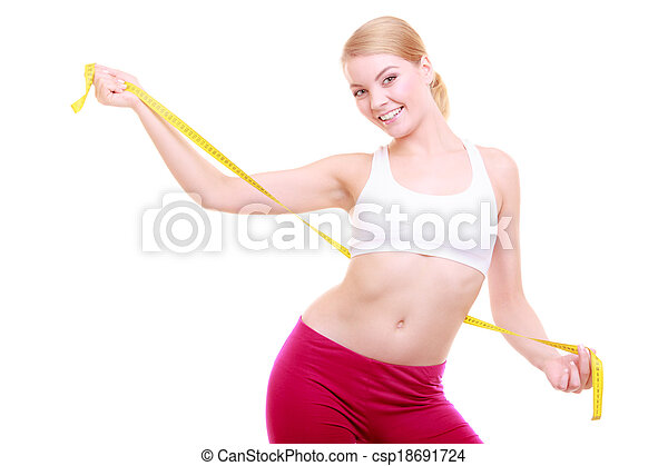 Diet. Fitness woman fit girl with measure tape isolated - csp18691724