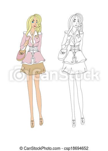 Fashion girl, vector sketch - csp18694652