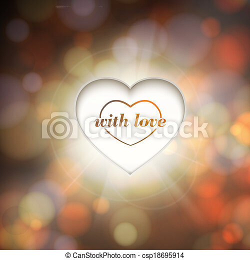 Contour heart and bokeh background. - csp18695914