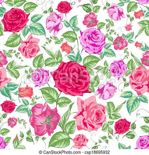Roses, floral background, seamless pattern. - csp18695932