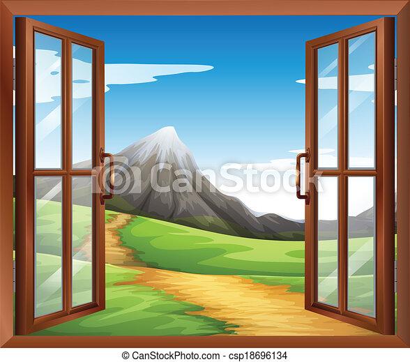 Vecteurs de une ouvert fen tre travers les montagne for Une fenetre ouverte