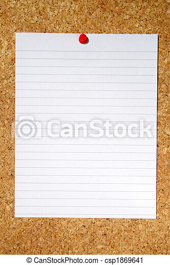 White lined paper pinned to a cork notice board. - csp1869641