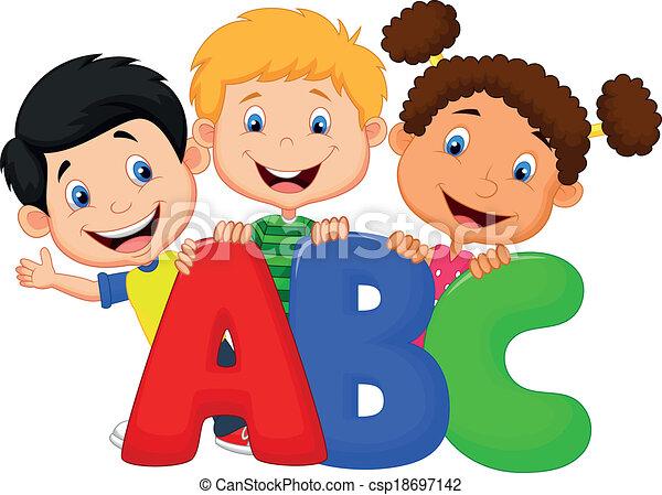 EPS vector de escuela, niños, caricatura, Abc - vector ...