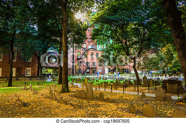 Historic cemetary in Boston, Massachusetts. - csp18697605