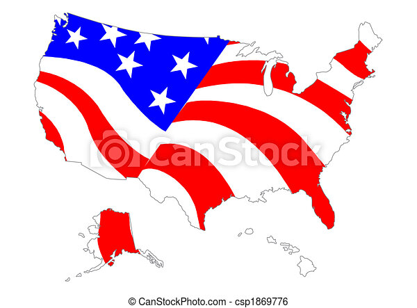 Map of US with flag - csp1869776