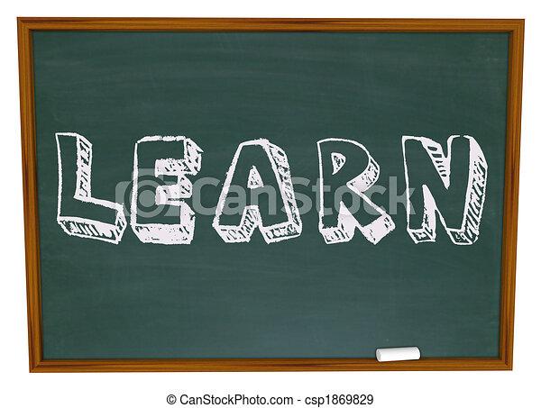 Learn Word on Chalkboard - csp1869829