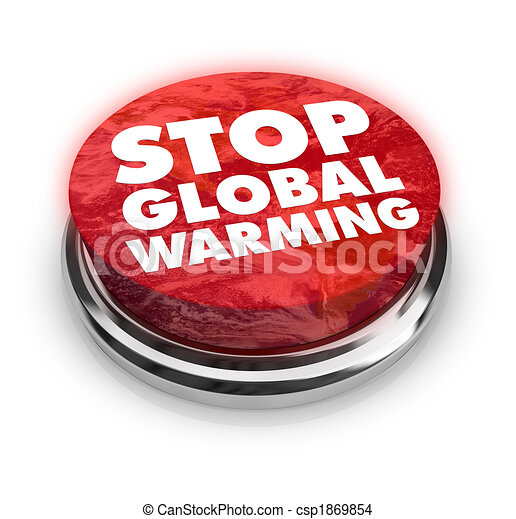 Stop Global Warming - Button - csp1869854