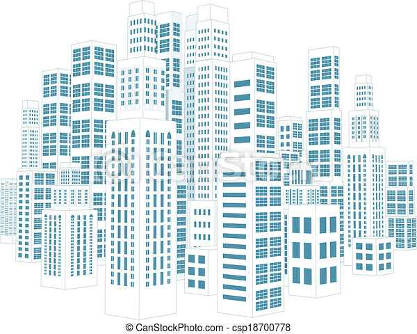 City with buildings and skyscrapers. - csp18700778