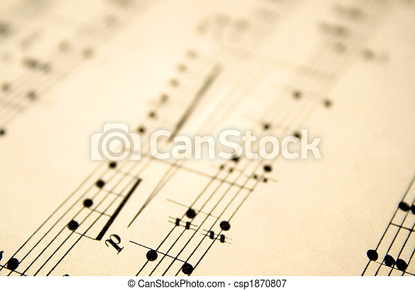 Close up of notes on an old sheet of music with shallow focus. - csp1870807