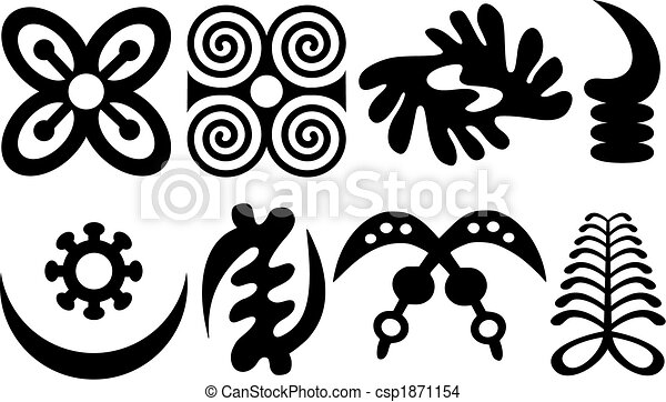 A set of akan and adinkra west african symbols - csp1871154