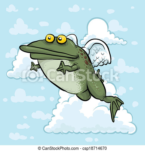 Flying Frog Drawing Flying Angel Frog