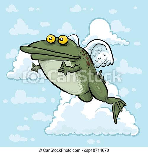Flying Frog Drawing Flying Angel Frog