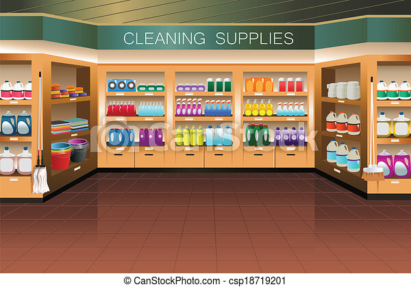 Vector Clipart of Grocery store: cleaning supply section ...