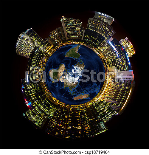 Bright City Lights on Miniature Planet Earth - csp18719464
