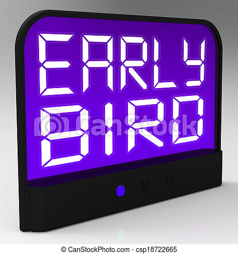 Early Bird Clock Shows Punctuality Or Ahead Of Schedule - csp18722665