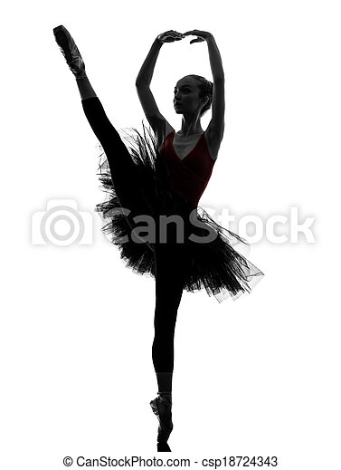young woman ballerina ballet dancer dancing silhouette - csp18724343