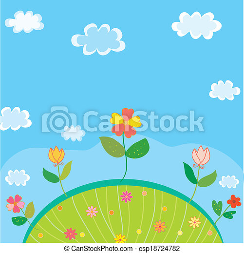 Vector Of Cute Landscape For Kids With Flowers And Sky Csp18724782 Search Clip Art