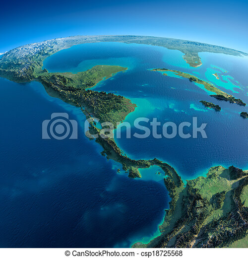 Detailed Earth.The countries of Central America - csp18725568