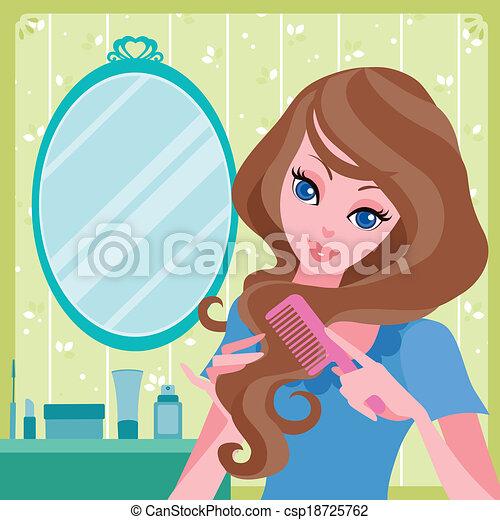 Clip Art Vector of young girl combing her hair - vector ...