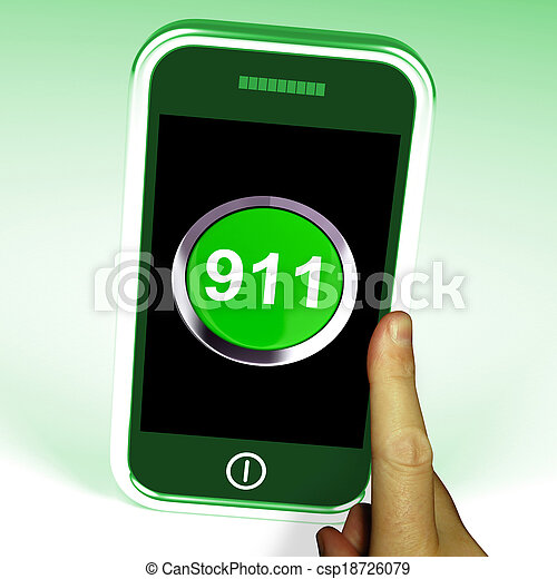 Nine One On Phone Shows Call Emergency Help Rescue 911 - csp18726079