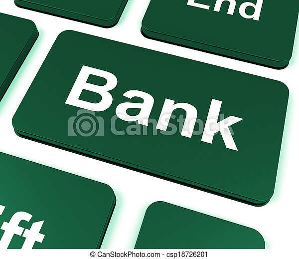 Bank Key Shows Online Or Internet Banking - csp18726201