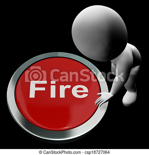 Fire Button Means Emergency Evacuation And 111 - csp18727064
