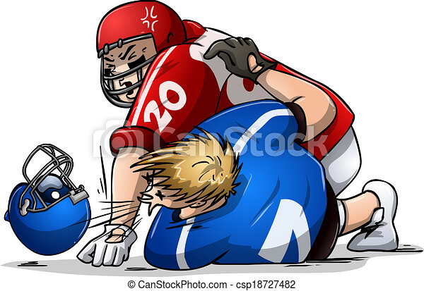 Two football players clipart
