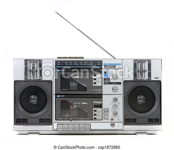 Front View of a Vintage Boom Box Cassette Tape Player - csp1872860
