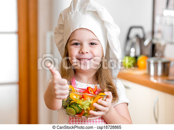 Kid girl with healthy food and showing thumb up - csp18728865