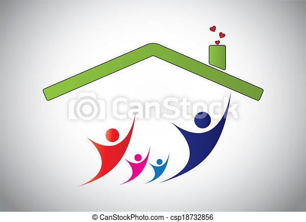 happy family of man, woman and children jumping joy in home house. happiness of family with parents and kids with hands up in the air with house roof and bright white background - concept illustration - csp18732856