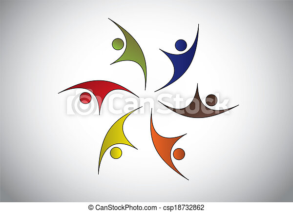 Diverse Happy Young people jumping & dancing with joy & happiness. Men, women, kids and children of different color celebrating event or occasion together  team strength concept illustration art - csp18732862