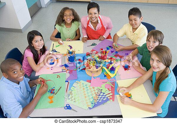 Elementary school art class - csp1873347